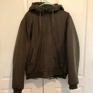 Khaki Hooded Bomber Jacket